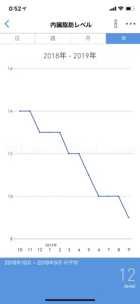 ダイエット10か月後の内臓脂肪レベル